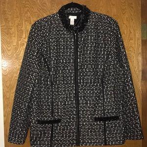Chico's black/white and beaded blazer